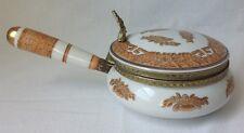 Vtg Porcelain Silent Butler Oriental Crumb Catcher Ashtray Orange Gold Trm Japan