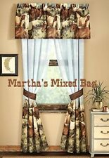 "HORSE PONY Girls Western Brown WINDOW Treatment 84""x84"" 2-Panel DRAPES Curtains"