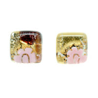 Murano Glass Earrings Gold Pink Millefiori Handmade Venice Stud Square