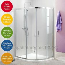 Quadrant Shower Enclosure Corner Walk In Cubicle Door+Stone Tray+Fast Flow Waste