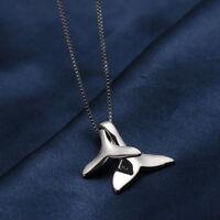 925 Sterling Silber Delphine Meerjungfrau Schwanz Anhänger Bib Kette Halskette