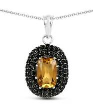 5.85 ctw Honey Citrine and Black Spinel 925 Sterling Silver Pendant With Chain