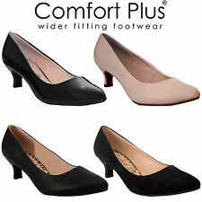 WOMEN COURT SHOES LADIES WIDE FITTING CLASSIC CASUAL FORMAL WORK LOW KITTEN HEEL