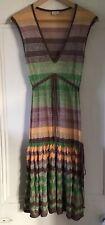 Whistles Women's Green Gold Brown Metallic Sleeveless V-Neck Dress 2 UK 10 EU 38