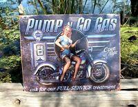 Pump N Go Gas Vintage Metal Tin Sign Wall Decor Garage Man Cave Home Under $20