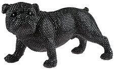 Large 40 cm Black Art Diamante Bling British Bull Dog Figurine Ornament LP28049