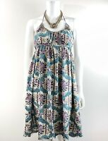 ANTHROPOLOGIE TRACY REESE / Size 6 /Silk Floral Keyhole Beaded Halter Bead Dress