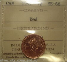 Super Gem Canada Elizabeth II 1997 Small Cent - ICCS MS-66 (XQF XB-049)