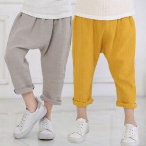 Kids Elastic Waist Pants Cotton Loose Linen Harem Infant Baby Boy Trousers