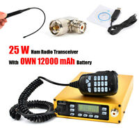 Dual Band 12000 mAh Battery 25W Portable Mobile amateur Transceiver + Cable