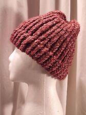 Handmade One Size Purple Knitted Beanie 80% Acrylic 20% Wool Beanie