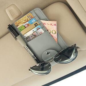 Grey PU Leather Car Sun Visor Clip Holder Card Case Wallet Tickets Storage Bag