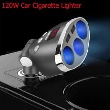 Car LCD Cigarette Lighter Socket Splitter 12-24V Dual USB Charger Power Adapter