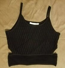 NWT Jonathan Simkhai Cutout Honeycomb Stretch-knit Top Black Size S (Small)