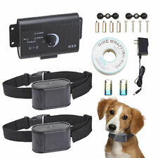 New listing Electric Waterproof Dog Fence System 2 Shock Collars for two Dogs.