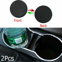 2Pcs Water Cup Slot Non-Slip Carbon Fiber Mat Vehicle Car Accessories Black