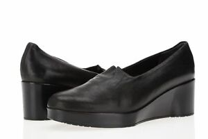 Women's ROBERT CLERGERIE Jitar Wedge Black Leather Shoes size 36.5