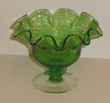 Ruffled Edge Green Blown Glass Candy Dish
