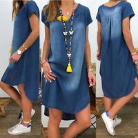 Womens Summer V Neck Denim Long Casual Loose Dress Maxi Baggy Short Sleeve Dress