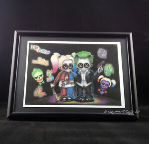 Harley Quinn & Joker Cute Couple Horror Art Quality Print of Hand Drawn Picture