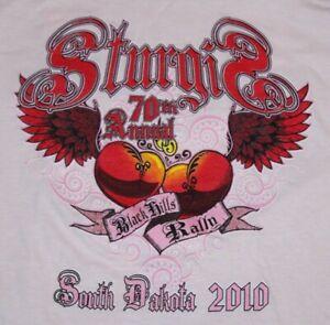 women's Medium pink Sturgis 70th Annual 2010 Black Hills Rally t-shirt SD hearts
