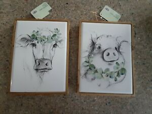 """FARMHOUSE pig & cow black & white sketch 11"""" x 8"""" pictures wood & metal LOT OF 2"""