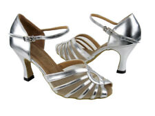 """2719 Silver Leather Latin Dance Shoes heel 2.5"""" Sz 8.5"""