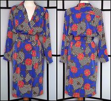 EUC! VTG Papell Boutique Chain Hounds-tooth Jewel Blue Secretary Dress Belted 6