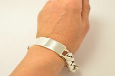 "Taxco Mexican Silver Curb Chain ID Bracelet. 8.9""(22.5cm),104 grams"