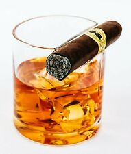 Whiskey Glass With Built-In Cigar Rest