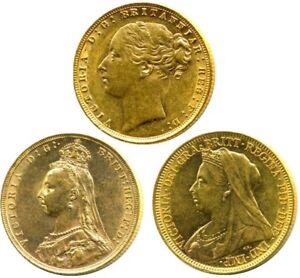 Queen Victoria Sovereigns Head Type Set (3 Sovereigns)