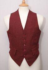 "Strachan 60's vintage claret West of England woven wool waistcoat vest 36"" 92cm"