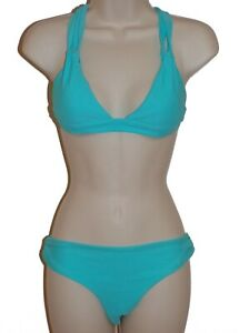 Rebel Sky blue cross back halter bikini size L swimsuit cheeky new