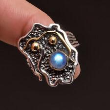 Anillos de joyería naturales de plata de ley piedra luna