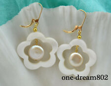 11mm coin Fw pearl earring 28mm white shell flower baby pink