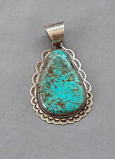 Large Vintage Native American Signed Sterling Silver Turquoise Pendant Big Bale