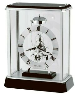 Bulova Silver Finish Skeleton Bell Strike Skeleton Mantle Clock Vantage B2023