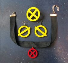 X-Men Jubilee Costume Accessory Cosplay Jewelry Set Earrings Necklace Pin Brooch