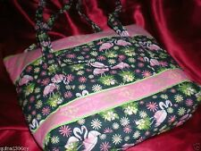 TROPICAL QUILTED PINK FLAMINGO LARGE BEACH TOTE PURSE