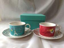 Afternoon Tea Japan Cup & Saucer Set of 2, Color : Red, Blue