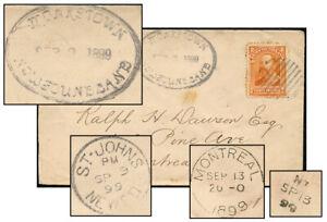 NEWFOUNDLAND SEP 1899 MONKSTOWN-MONTREAL / NT CARRIER