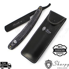 Wood Handle Straight Stainless Steel Razor Blades Barber Folding Shaving Knife