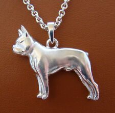 Large Sterling Silver Boston Terrier Standing Study Pendant