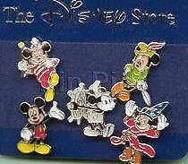 MICKEY THRU THE YEARS Sorcerer STEAMBOAT WILLIE Tailor MINI 5 PIN SET JDS Disney