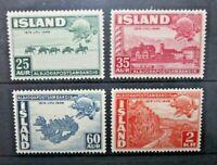 FRANCOBOLLI ISLANDA 1949 ANNIVERSARIO U.P.U. LINGUELLATI MH* SET (C.9)