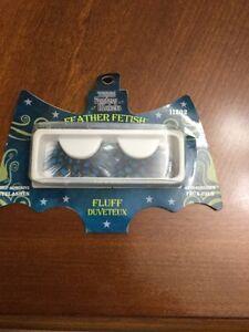 FANTASY MAKERS Self-Adhesive #11202 FLUFF Eye Lashes Set FEATHER FETISH Blue