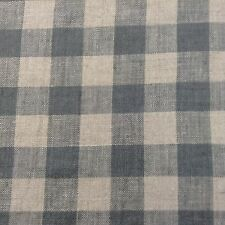 French Vintage Linen Gingham Check D0ve Grey Curtain/upholstery Fabric