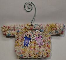 Multicolored Twin Babies  Mini Sweater  Christmas Ornament