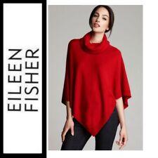 Eileen Fisher 6602 Womens Red Merino Wool Turtleneck Poncho Sweater Top O/s BHFO