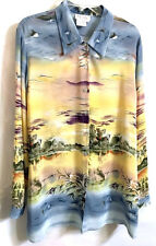 Tess Button Down Blouse 100% Silk ~ XL Asian Chinese Japanese Print Long Sleeves